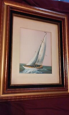 Vintage Oil Painting Sailboat Maritime Original nautical Art Impressionism Satin