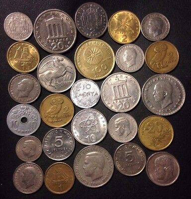 Old Greece Coin Lot - 1922-PreEuro - 26 Collectible Coins - Lot #D14