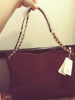 79a819960dd7  495 Tory Burch Marion Suede Chain Shoulder Slouchy Tote Burgundy (Port)