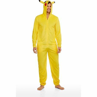 Officially Llicensed Pokemon Union Pikachu Hooded Zip Up One Piece Costume Suit