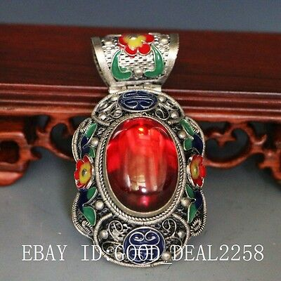 Tibetan Vintage Handwork Silver Cloisonne Inlay Natural Red Zircon Pendant