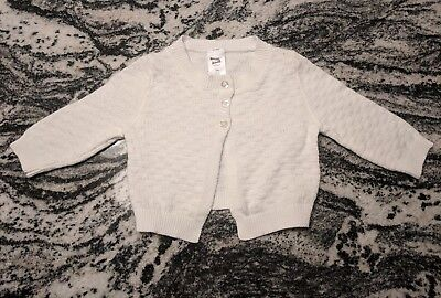 CARTER'S CARDIGAN SWEATER White 100% Cotton Baby GIRLS SIZE 3 MONTHS NWOT