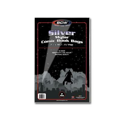 100 = 2 Pack of 50 BCW Silver Age Comic Book 2 Mil Mylar Bags Acid Free ni