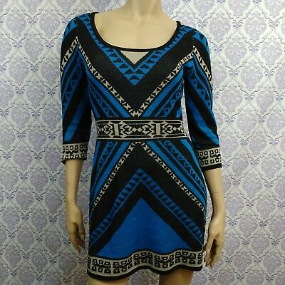 749e467b9a4 Flying Tomato Aztec Sweater Dress Womens M Blue Black Boho Fitted Above Knee