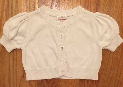 Hanna Andersson Girls Short Sleeve Cardigan White Sweater size 100 4 5