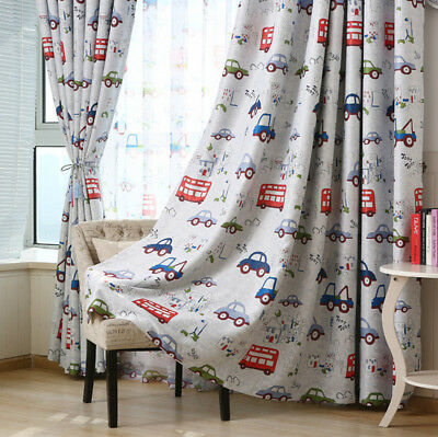 Cartoon Car Printed Blackout Curtains Thermal Insulated for Kids Bedroom 1 Panel