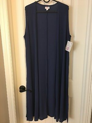 LuLaRoe Joy Ribbed Long duster Vest Navy Blue  Size M  NWT
