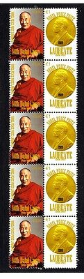 14th DALAI LAMA NOBEL PEACE PRIZE STRIP OF 10 STAMPS 3