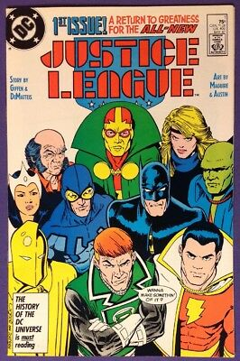 JUSTICE LEAGUE 1 May 1987 8.5-9.0 VF+/NM- DC COMICS - 1ST MAXWELL LORD!!!
