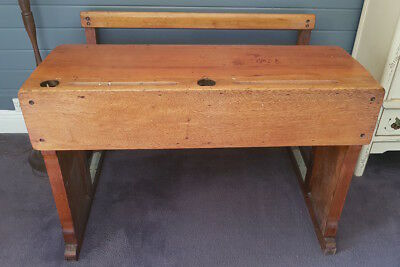 Antique timber school desk double seater