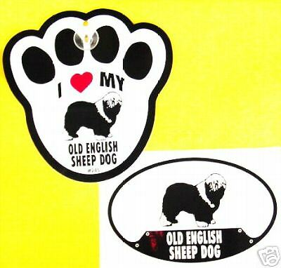 Old Englsh Sheepdog - Decal&window Pawprint W  Cup Set