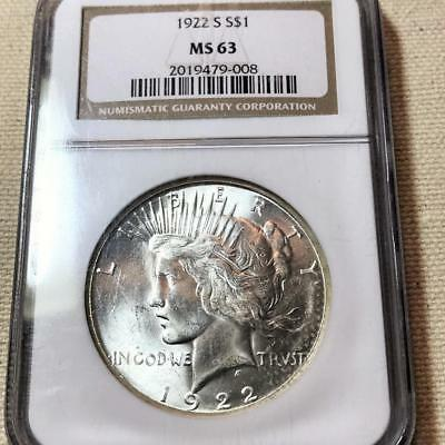 1922-S  Peace Dollar   Ngc Ms 63   #7520