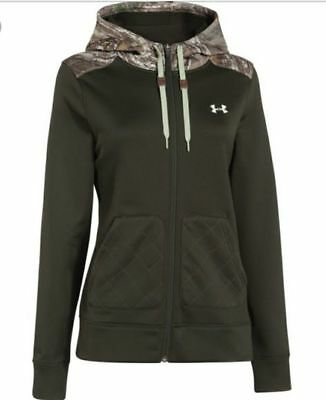 Womens UNDER ARMOUR Storm CALIBER Realtree Camo Full Zip Hoodie JACKET S M L $85