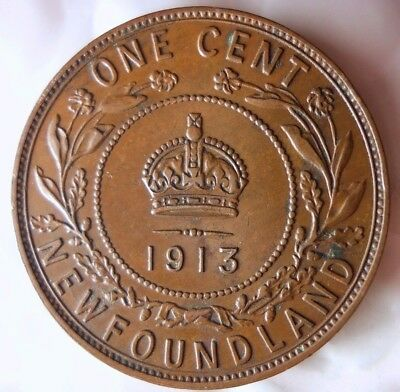 1913 NEWFOUNDLAND CENT - AU/UNC - Great Coin - FREE SHIPPING - HV41