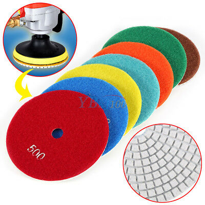 "5""inch/125mm Wet/Dry Diamond Polishing Pads Sanding Disc Marble Granite Concrete"