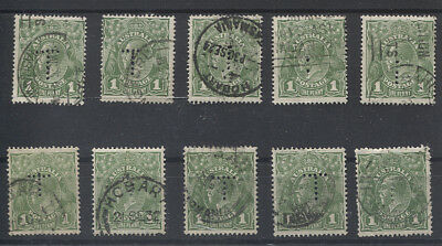 TASMANIA 1920s/30s: 10x used 1d green KGV (mixed wmks) all w/ official T perfin