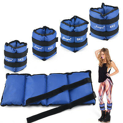 3/4/5/6kg Blue Adjustable Ankle Wrist Weight Training Exercise Wrist Straps Gym