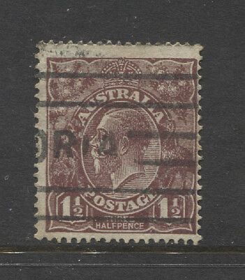 AUSTRALIA  commercial used 1½d brown KGV (LM Wmk) 'no top to crown' ACSC 86(8)j