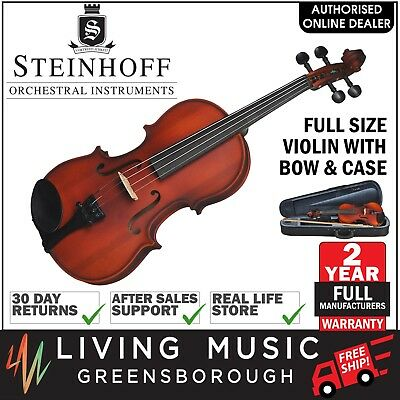 NEW Steinhoff Full Size Student Violin Outfit with Bow & Case (Natural Satin)