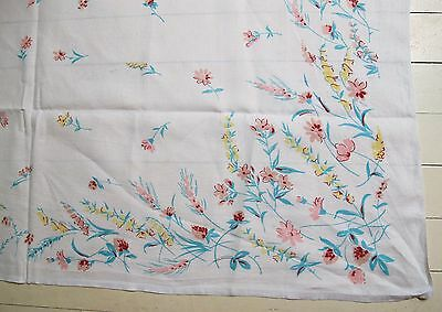 TABLE CLOTH White LINEN Floral border 1970's VINTAGE Shabby Chic TABLECLOTH ♫