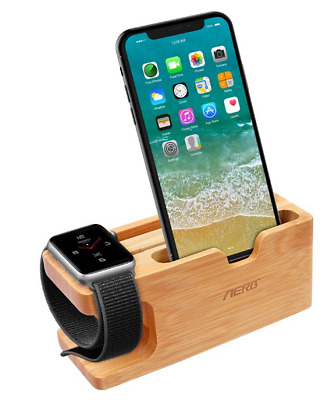 Apple Watch Stand, Aerb Bamboo Wood Charging Stand Bracket Docking Station New