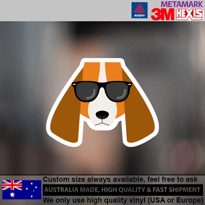 Basset Hounds Hipster Funny Cute Animals Dog Decal Sticker 100 mm x 75 mm