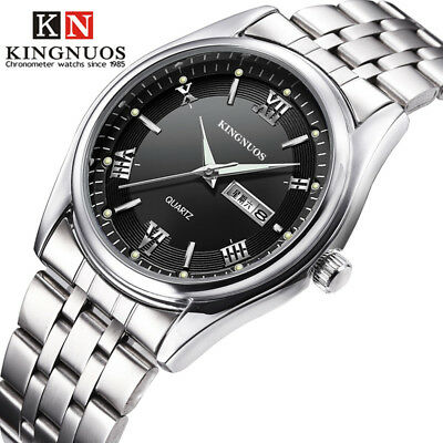Business Casual Mens Fashion Double Calendar Waterproof Steel Band Quartz Watch