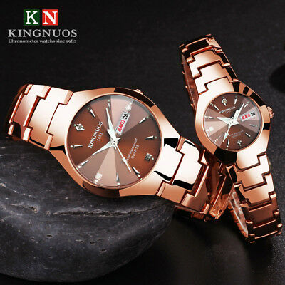 Casual Mens Womens Double Calendar Wrist watch Steel Band Quartz Lovers Watches