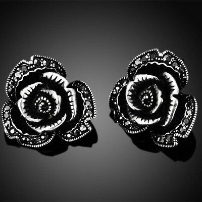 Antique Silver Plated Vintage Elegant Crystal Black Rose Flower Stud Earrings