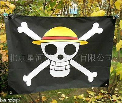 2017 Hot One Piece Anime Luffy Skull Pirate Drapeau Flag Banner Cosplay CAB