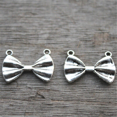 20pcs Bow Connectors Charms Wedding Ribbon Link Metal Antique Silver 28x10 3575