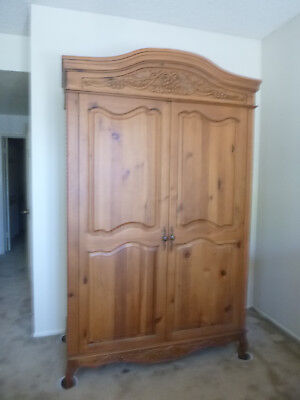 Country French Armoire/Wardrobe in Medium Pine, Solid Wood with Carved Details