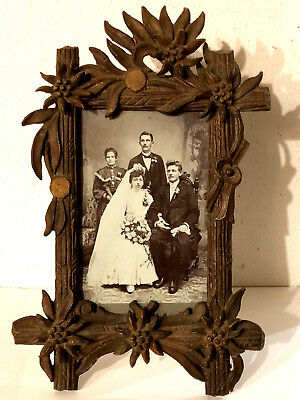 OLD AUSTRIAN BLACK FOREST HUNTING PICTURE FRAME - MARRIED PHOTO AUSTRIA c1900