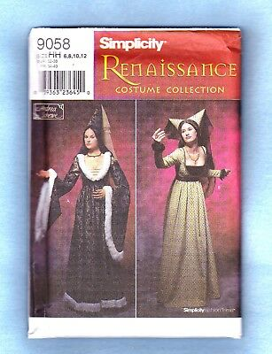 SIMPLICITY RENAISSANCE SEWING PATTERN 9058 GOWNS w/ CONE HATS, 6-12, *Uncut*