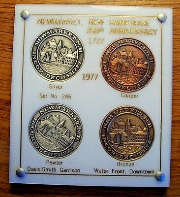 TOWN ANNIVERSARY STERLING SILVER MEDAL SET NEWMARKET NH 250th 1977