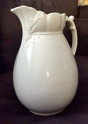 "ANTIQUE LARGE WHITE ROYAL IRONSTONE PITCHER - 1880's ENGLAND - 12"" Tall"