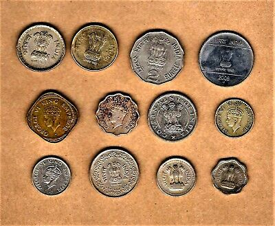 India & British India, 12 coin lot w/ 1940 1/4 Rupee in silver composition