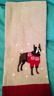 2 PK Boston terrier in a red sweater hand towel & Boston w/other dogs