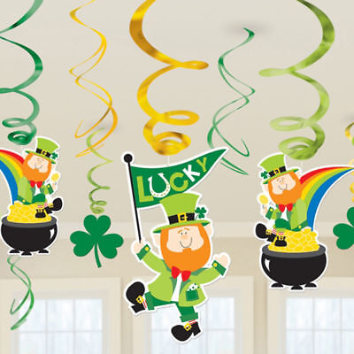 12 St Patricks Day Shamrocks Leprechaun Party hanging SWIRL Decorations Display