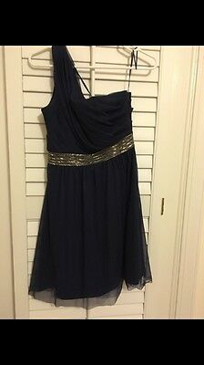 Max And Cleo Size 2 Navy Dress With Beaded Detail...prom/ Pageant/wedding STEAL!
