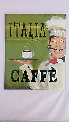 BNWT Hand Painted Glass Picture / Art / Sign Featuring Italia Caffe Designer