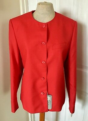 *DEAD STOCK* BNWT Vintage 1980s Bright Red M&S St Michael Suit Jacket - Size 10