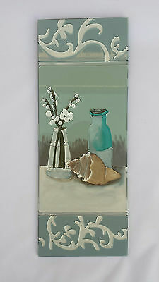 BNWT Hand Painted Glass Picture / Art / Sign Featuring Flowers to Left Designer