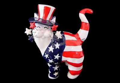 2001 MINT Amy Lacombe Whimsiclay Yankee Doodle Stars & Stripes Top Hat Cat