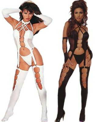 Sheer Sexy Exotic Stripper Dancewear with Gloves Leg Guards & Metal Buckles