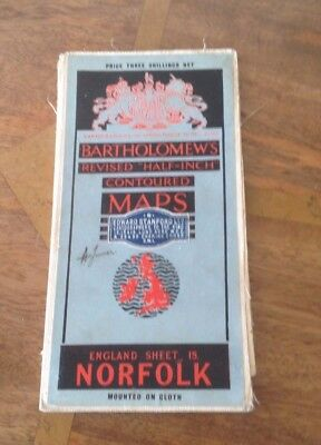 Bartholomew's Half Inch Contoured Map Of Norfolk 1924/27  Printed On Cloth