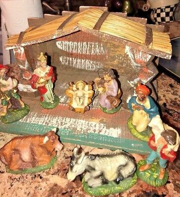 Vintage LEFTON EXCLUSIVE  Hand Carved Wood MADE IN ITALY Nativity Scene RARE SET
