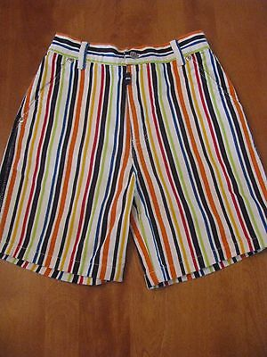 Hanna Andersson Rainbow Striped Denim Shorts Size 140 or 9 10 11 Years