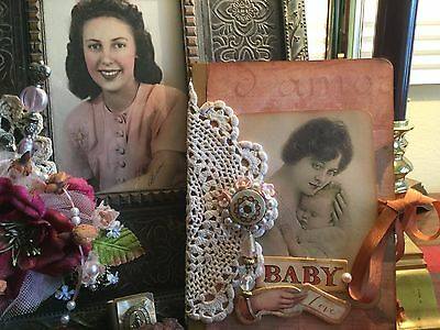 Baby Journal Shabby Chic Style Vintage New Mom Baby Diary Memory Book