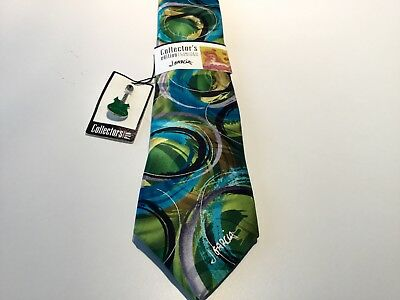 Jerry Garcia Men's Tie Collectors Edition Snake Juggling Teal Green Gold Pin NWT
